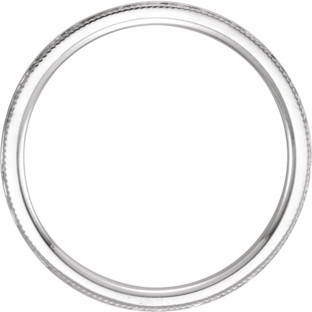 14K White 2 mm Flat Band with Hammer Finish & Milgrain  Size 7