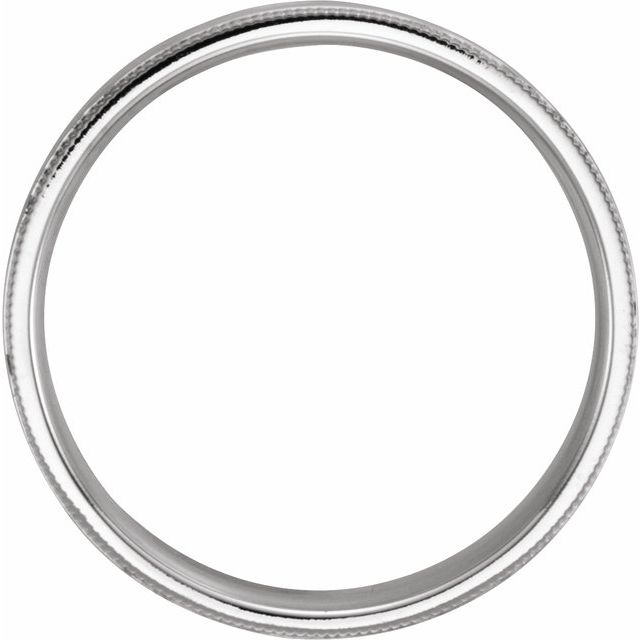 14K White 6 mm Flat Band with Hammer Finish & Milgrain  Size 7.5
