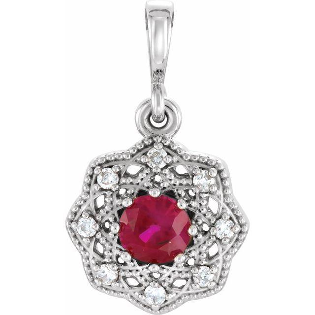14K White Ruby & .06 CTW Diamond Halo-Style Pendant