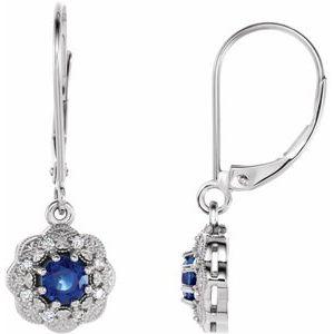 14K White Blue Sapphire & 1/10 CTW Diamond Halo-Style Earrings