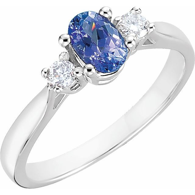 14K White Tanzanite & 1/6 CTW Diamond Ring