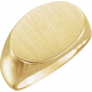 10K Yellow 18x12 mm Oval Signet Ring
