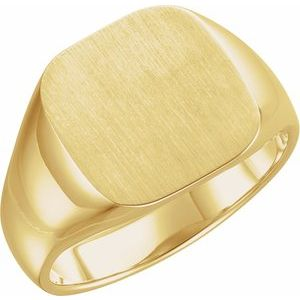 14K Yellow 14x14 mm Square Signet Ring
