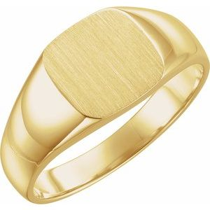 14K Yellow 10 mm Square Signet Ring