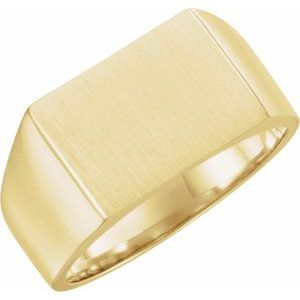14K Yellow 15x11 mm Rectangle Signet Ring