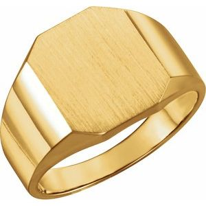 14K Yellow 14x12 mm Octagon Signet Ring