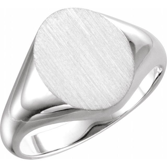 14K White 11x9.5 mm Oval Signet Ring