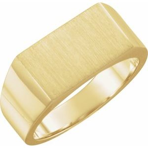10K Yellow 15x9 mm Rectangle Signet Ring