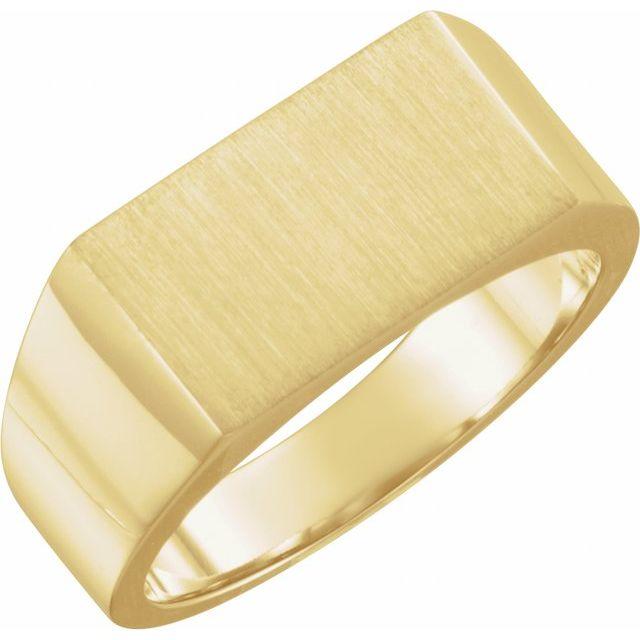 14K Yellow 15x9 mm Rectangle Signet Ring