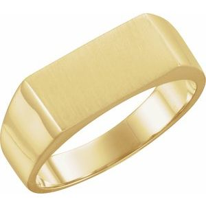 14K Yellow 15x7.5 mm Rectangle Signet Ring