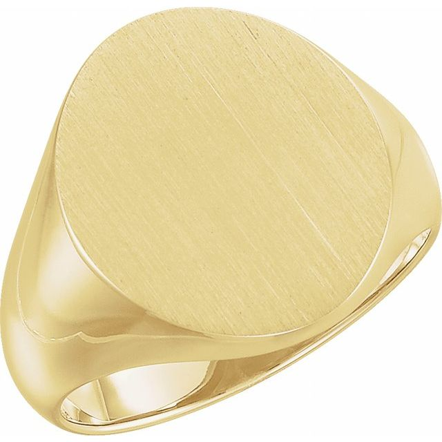 14K Yellow 18x16 mm Oval Signet Ring