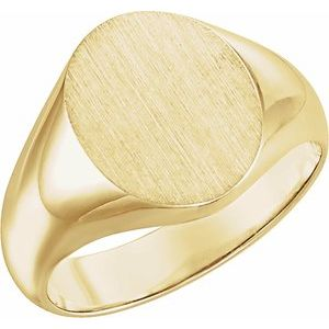 10K Yellow 12x10 mm Oval Signet Ring