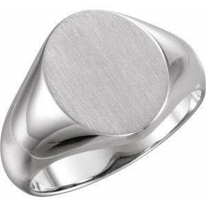 14K White 12x10 mm Oval Signet Ring