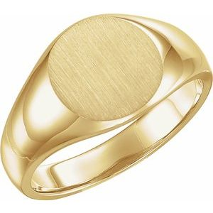 14K Yellow 13 mm Round Signet Ring