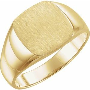 14K Yellow 12 mm Square Signet Ring