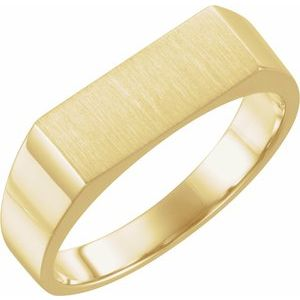 14K Yellow 15x6 mm Rectangle Signet Ring