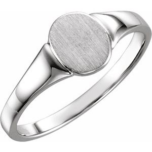 Sterling Silver 7x6 mm Oval Signet Ring Size 4