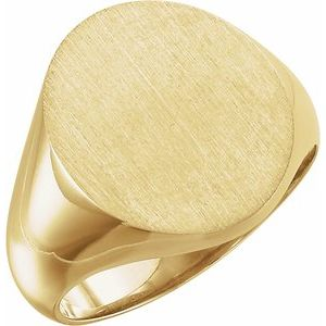 18K Yellow 18x16 mm Oval Signet Ring