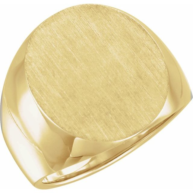 14K Yellow 20x17 mm Oval Signet Ring