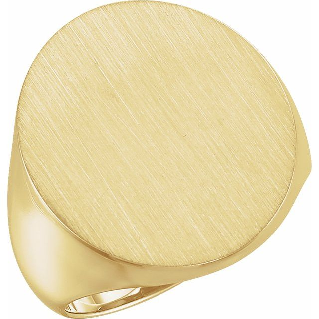 14K Yellow 22x20 mm Oval Signet Ring