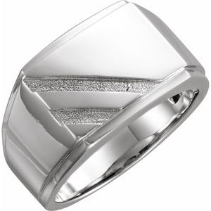 14K White 16x13 mm Rectangle Signet Ring