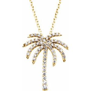 "14K Yellow 1/4 CTW Diamond Palm Tree 16"" Necklace"