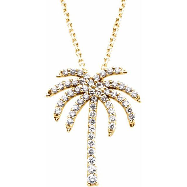 14K Yellow 1/4 CTW Diamond Palm Tree 16