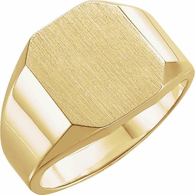 14K Yellow 12x10 mm Octagon Signet Ring