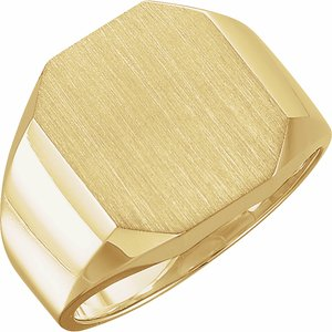 14K Yellow 16x14 mm Octagon Signet Ring