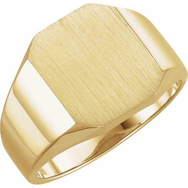 14K Yellow 14x12 mm Octagon Signet Ring