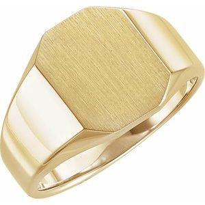 14K Yellow 11x9 mm Octagon Signet Ring