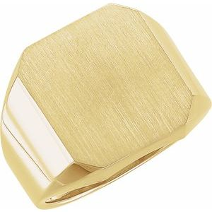 14K Yellow 18x16 mm Octagon Signet Ring