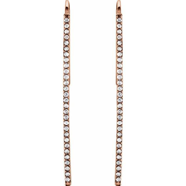 14K Rose 1/4 CTW Natural Diamond Vertical Bar Earrings