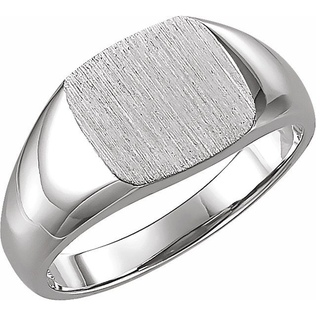 14K White 9 mm Square Signet Ring