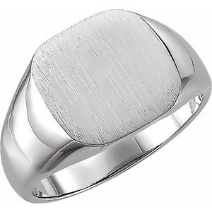 14K White 11 mm Square Signet Ring