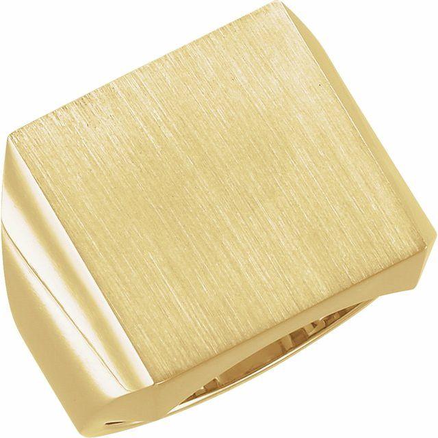 14K Yellow 18 mm Square Signet Ring