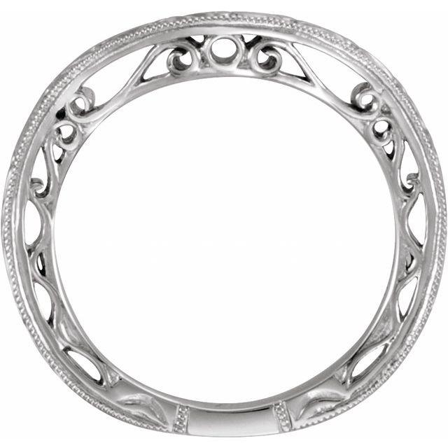 14K White Design-Engraved Band