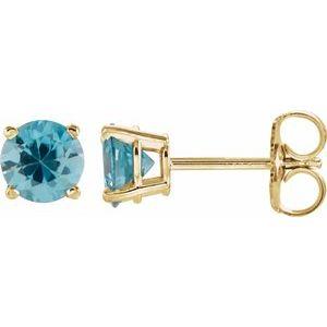 14K Yellow 5 mm Round Blue Zircon Earrings