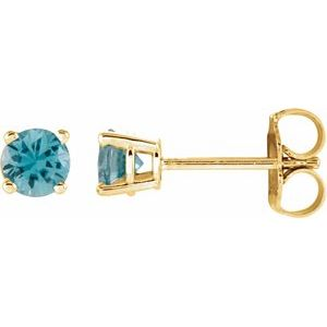 14K Yellow 2.5 mm Round Sky Blue Topaz Earrings