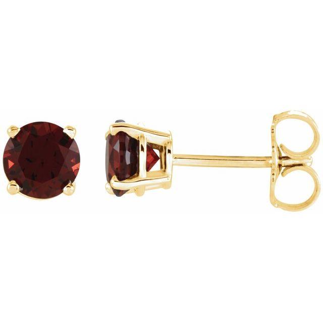 14K Yellow 5 mm Round Mozambique Garnet Earrings
