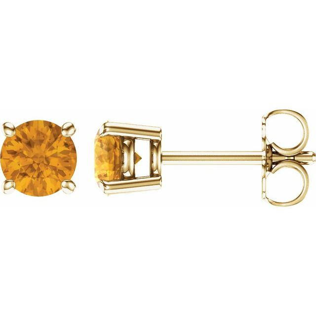 14K Yellow 5 mm Round Citrine Earrings