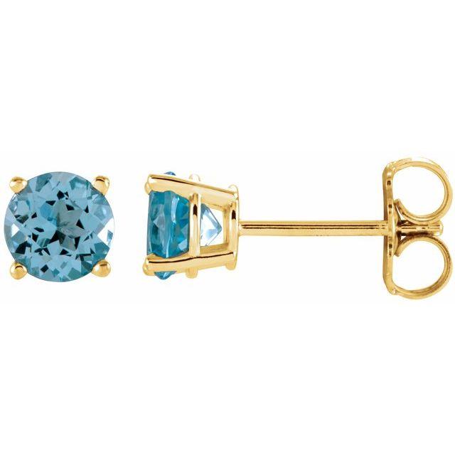 14K Yellow 5 mm Round Sky Blue Topaz Earrings
