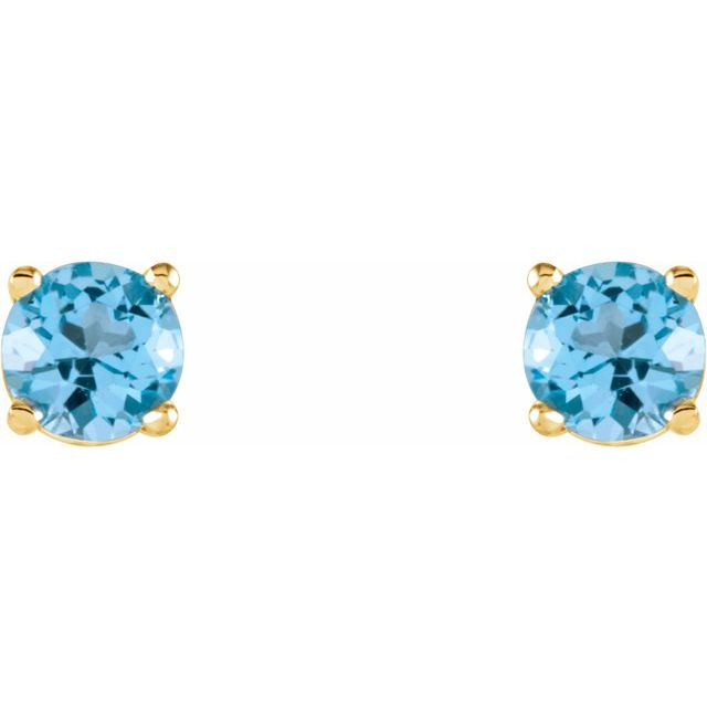 14K Yellow 4 mm Round Sky Blue Topaz Earrings
