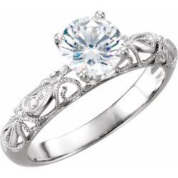 Semi-Mount Hand Engraved Engagement Ring Base
