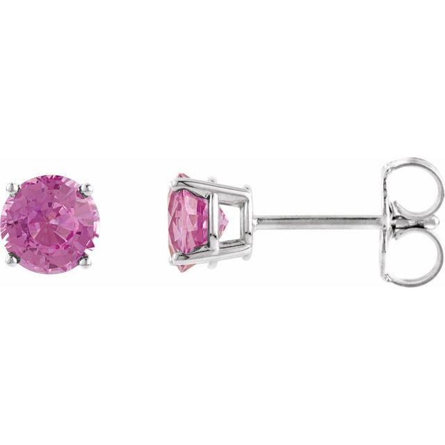 14K White 4 mm Round Pink Tourmaline Earrings