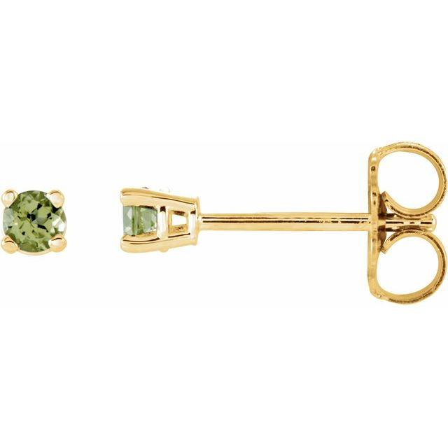 14K Yellow 2.5 mm Round Peridot Earrings