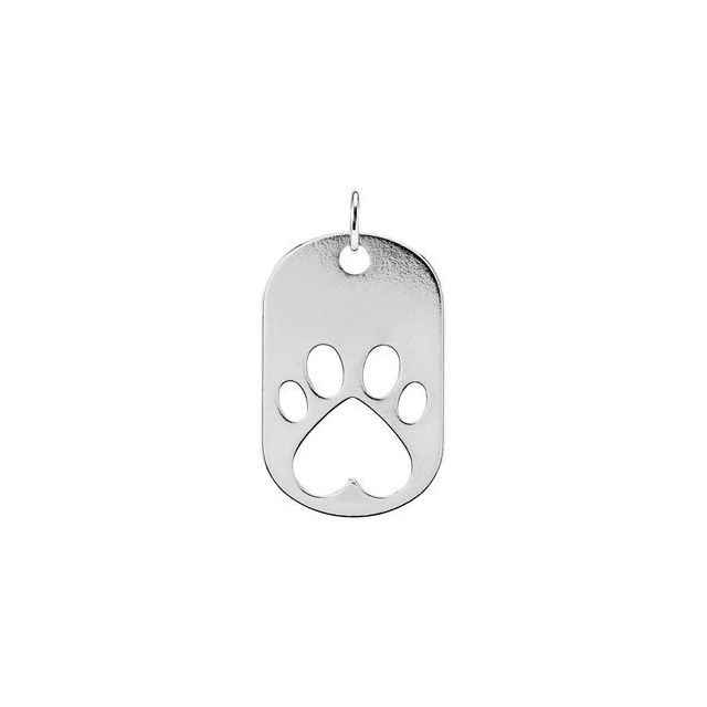 14K White Our Cause for Paws™ Dog Tag Pendant