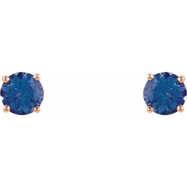 14K Rose 5 mm Round Tanzanite Earrings
