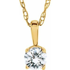 "14K Yellow 3 mm Round April Imitation Diamond Youth Birthstone 14"" Necklace"