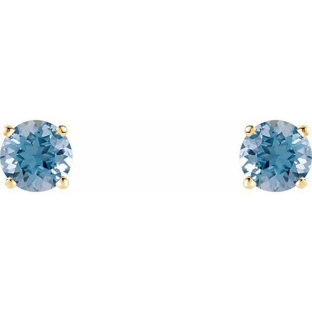 14K Yellow 5 mm Round Aquamarine Earrings